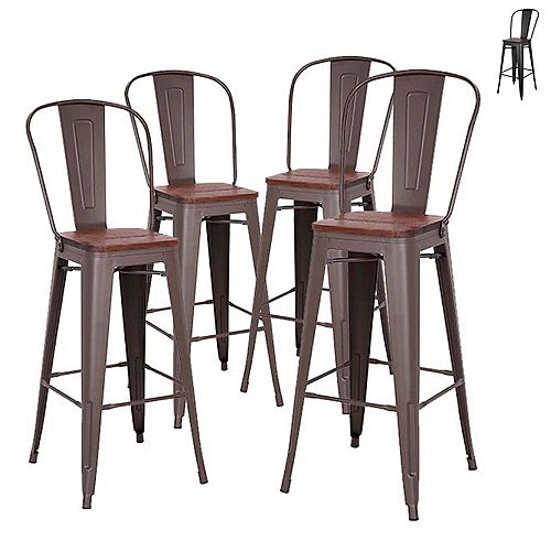30 inch Bar Height Metal Bar Stool with Elm Wood Seat and High Backrest -Antique Espresso-Set of 4