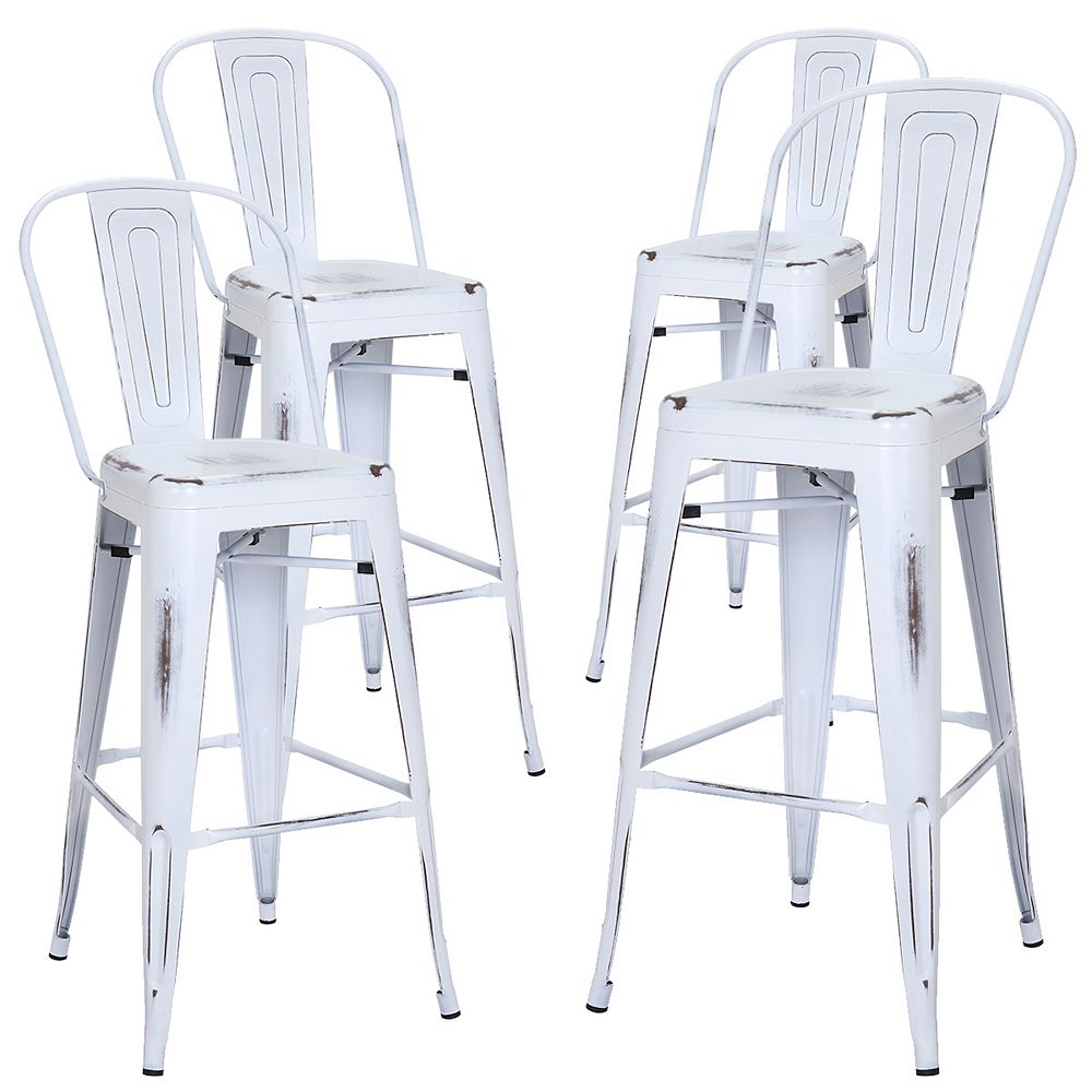 Bronte Living 30 inch Bar height industrial metal bar stool, backrest - Distressed White - Set of 4