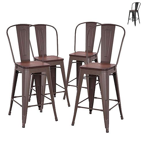 24 inch Counter Height Metal Stool with Elm Wood Seat and High Backrest - Antique Espresso- Set of 4
