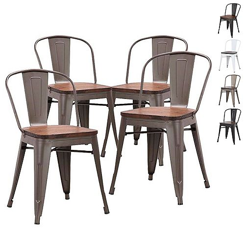 Metal dining chair with wooden seat and Mid Backrest - Antique Espresso Legs - Set of 4