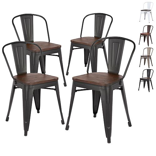 Metal dining chair with wooden seat and Mid Backrest - Matte Black Legs - Set of 4