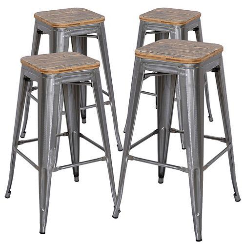 30 inch Industrial metal bar stool with zebra wood seat - Polished Gun Metal - Set of 4