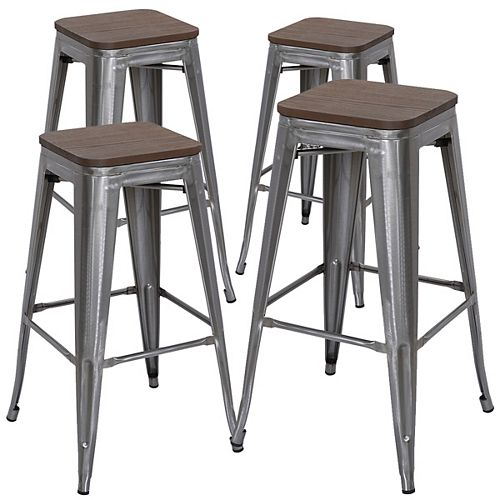 Bronte Living 30 inch Industrial metal bar stool with dark elm wood seat - Polished Gun Metal - Set of 4