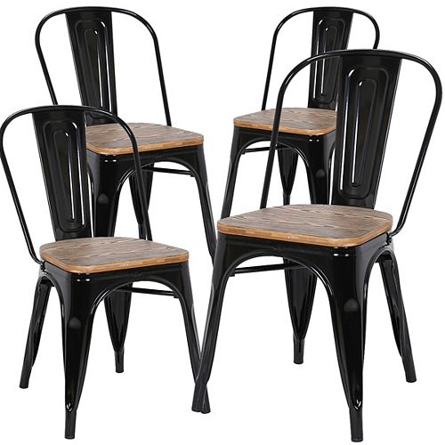 Industrial metal dining chair with zebra wood seat and high backrest - Black - Set of 4