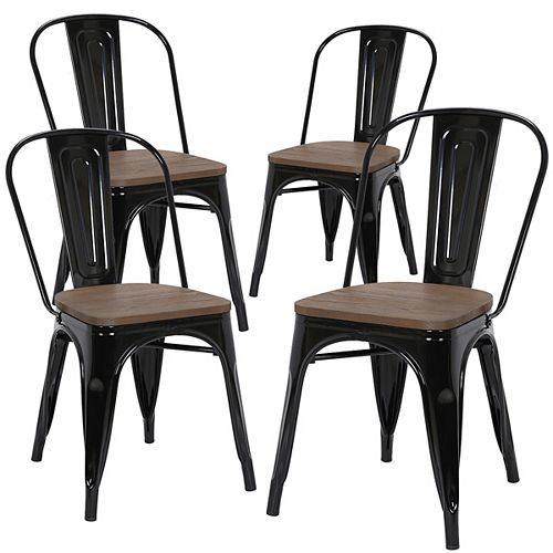 Industrial metal dining chair with dark elm wood seat and high backrest - Black - Set of 4