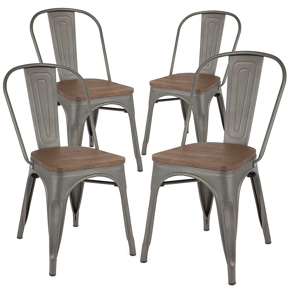 Bronte Living Chaise de salle à manger en métal, assise en bois naturel,haut dossier-en bronze à canon-Lot de 4