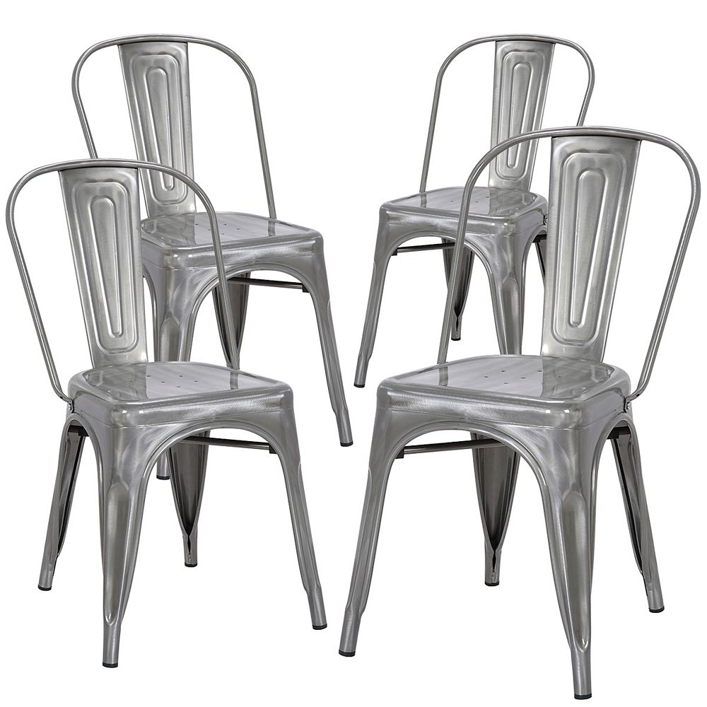 Bronte Living Industrial Metal Dining Chair with High Backrest - Polished Gunmetal - Set of 4
