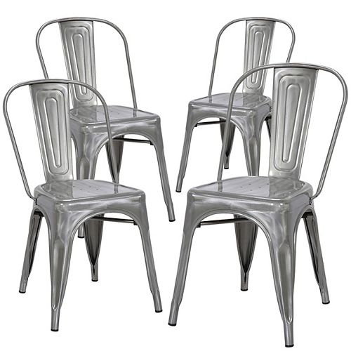 Industrial Metal Dining Chair with High Backrest - Polished Gunmetal - Set of 4