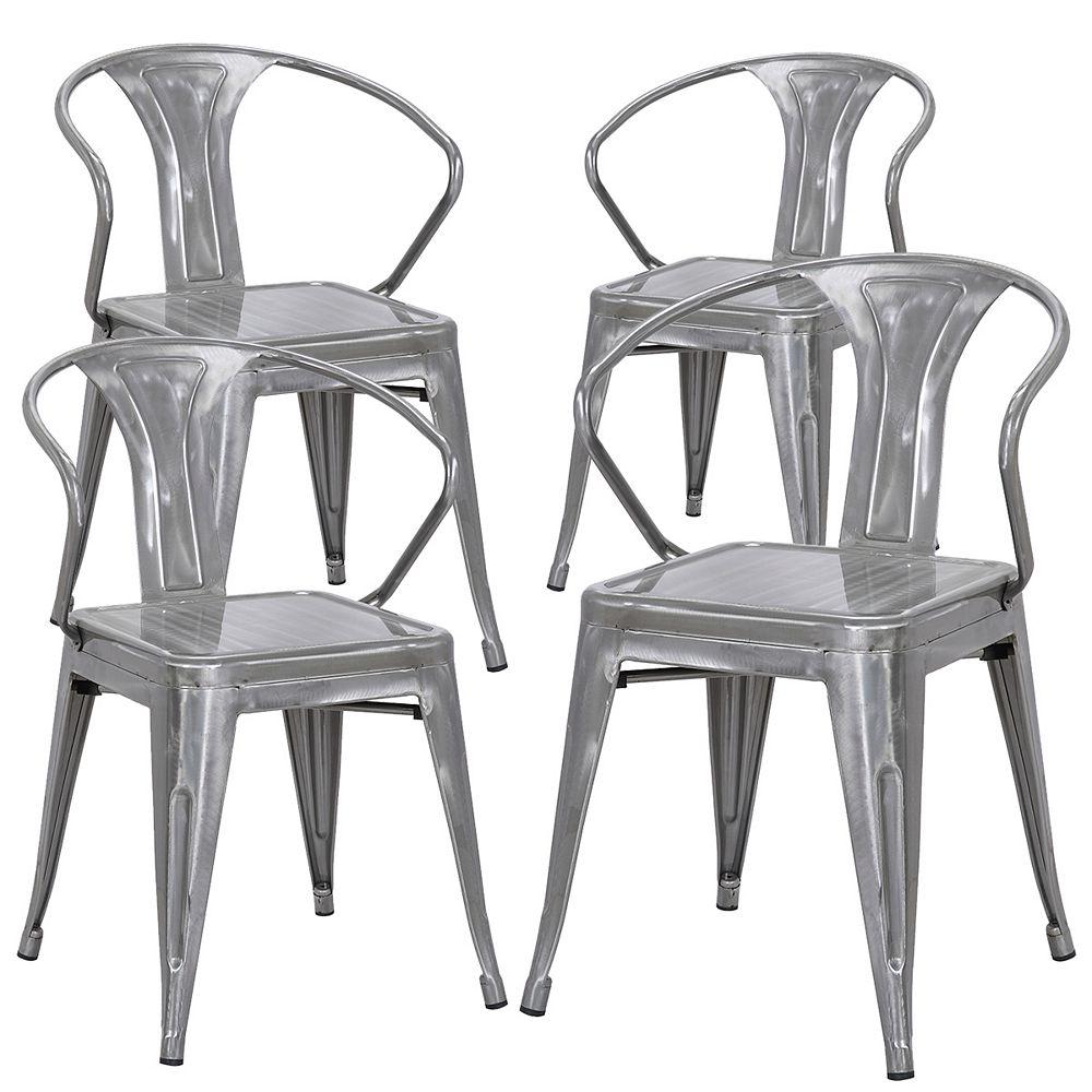 Bronte Living Industrial metal chair with backrest - Polished Gun Metal - Set of 4