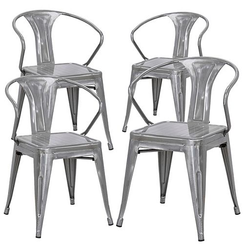 Bronte Living Industrial metal chair with backrest - Polished Gun Metal - Set of 4