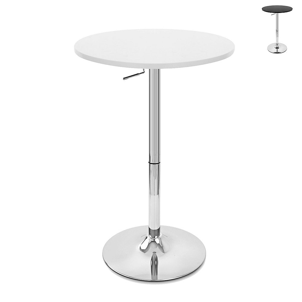 Bronte Living Rounded top bar table with adjustable height and swivel design - White - 1 Unit