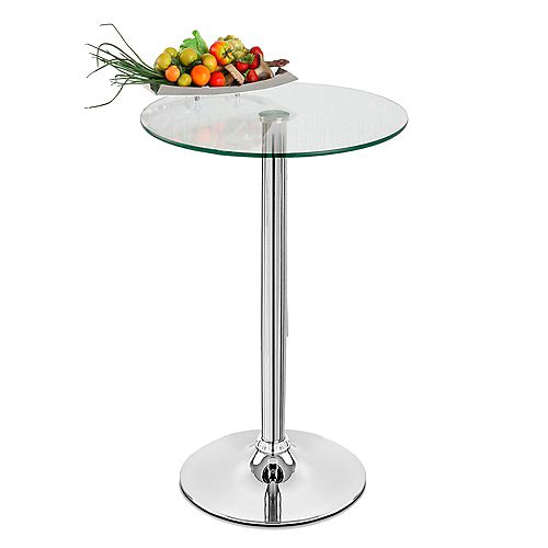 40 inch Bar table with rounded top and fixed height - Glass - 1 Unit