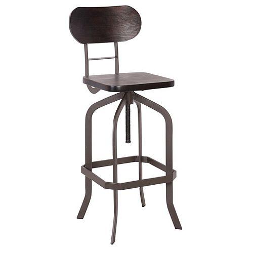 Swivel adjustable height metal stool with dark bent wood - Antique Espresso - 1 Unit