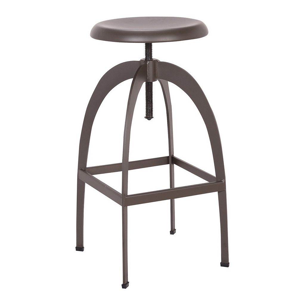 Bronte Living Swivel adjustable bar and counter height backless metal stool - 1 Unit