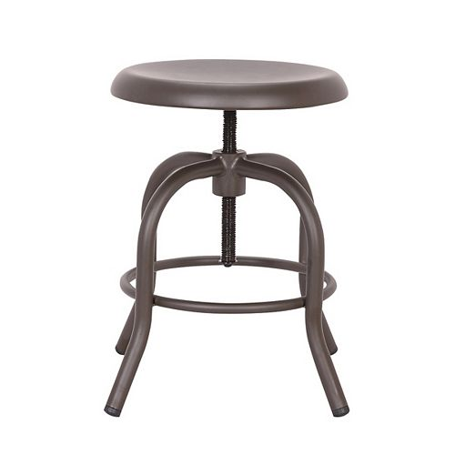Swivel backless adjustable height metal bar stool - Antique Espresso - 1 Unit