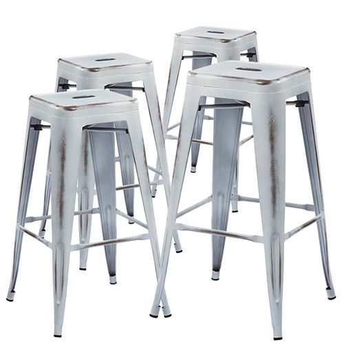 Bronte Living 30 inch Bar height industrial metal bar stool - Distressed White - Set of 4