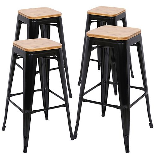 Bronte Living 30 inch Industrial metal bar stool with natural wood seat - Black - Set of 4