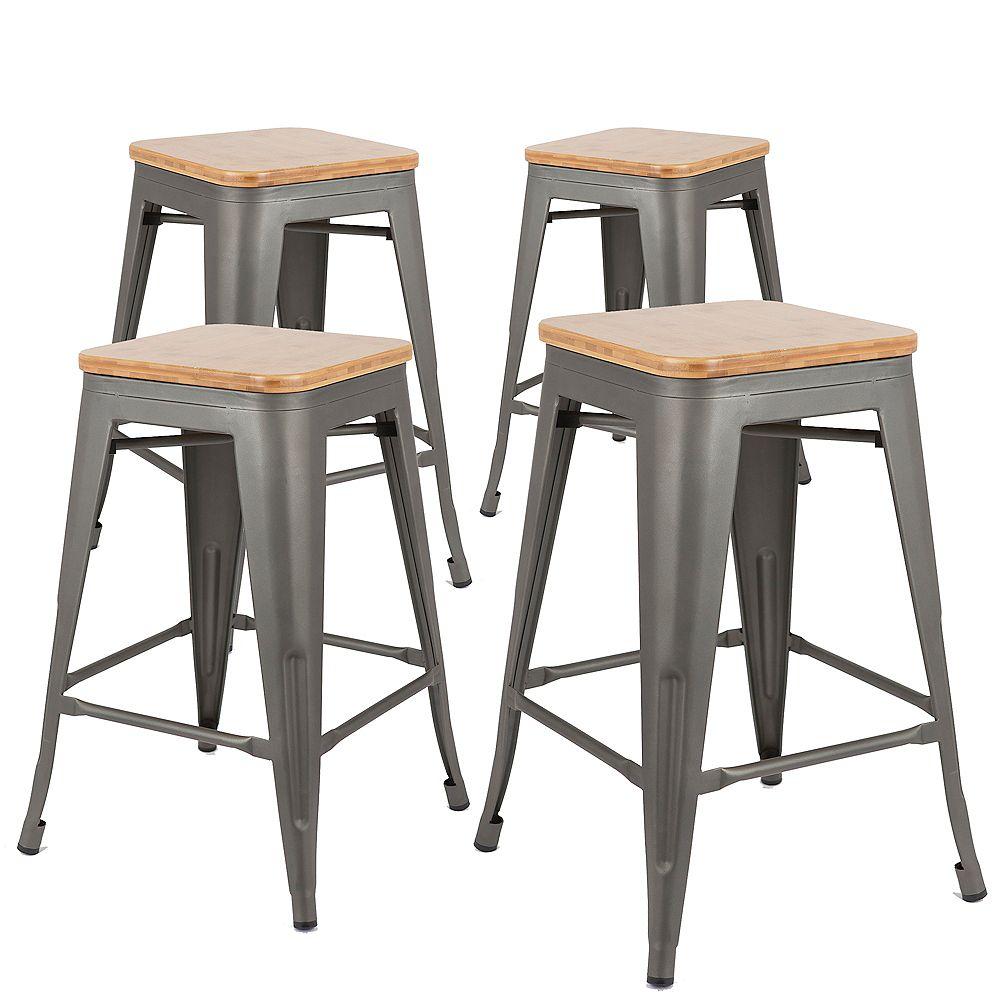 Bronte Living 30 inch Industrial metal bar stool with black wood seat - Gun Metal - Set of 4