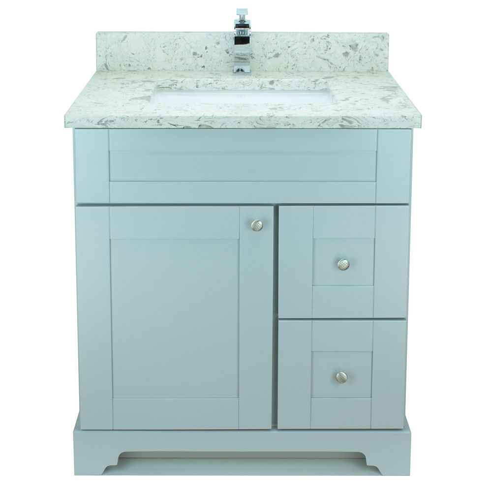 LUKX Bold Damian 24-inch Vanity in Grey Right Side Drawers with Milky Way Quartz Top