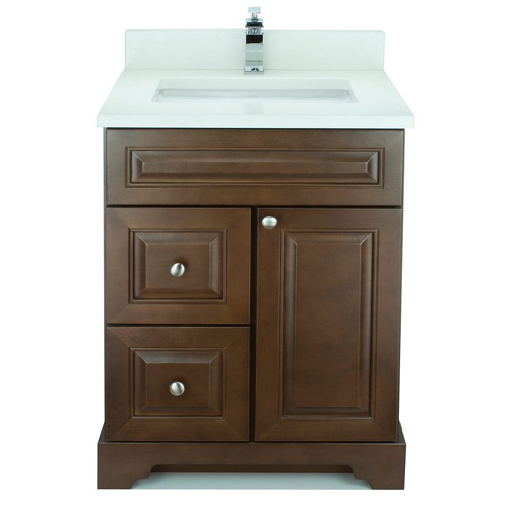 LUKX Bold Damian 24-inch Vanity in Royalwood Left Side Drawers with Silk White Quartz Top