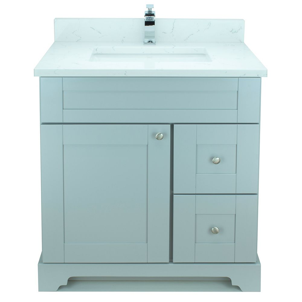 LUKX Bold Damian 30-inch Vanity in Grey Right Side Drawers with Carrera Quartz Top