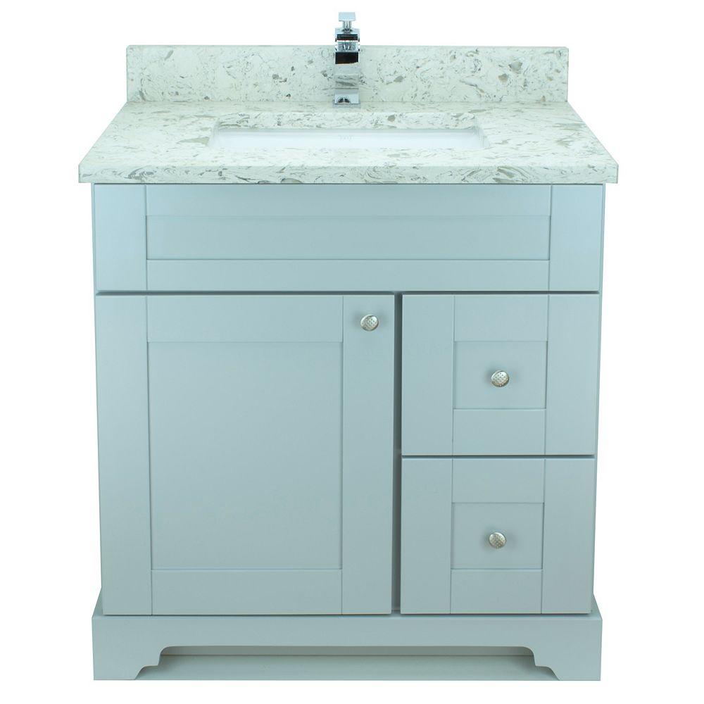 LUKX Bold Damian 30-inch Vanity in Grey Right Side Drawers with Milky Way Quartz Top
