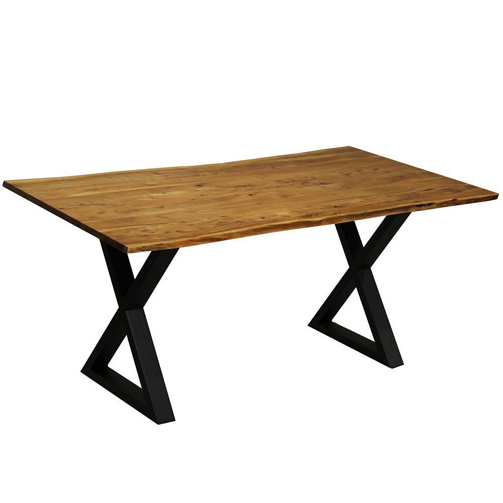 CORCORAN Table live edge 67'' en acacia avec base en X