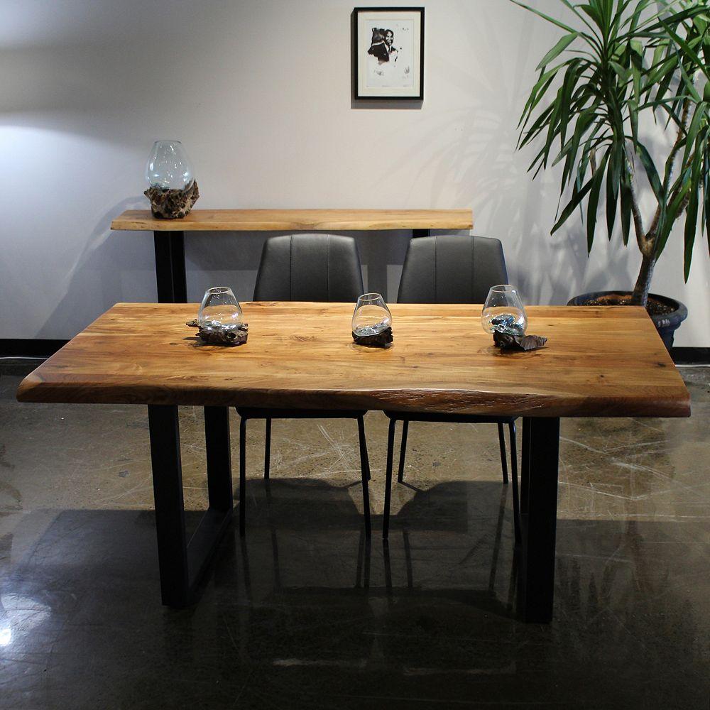 CORCORAN Table live edge 72'' en acacia avec base en U noir