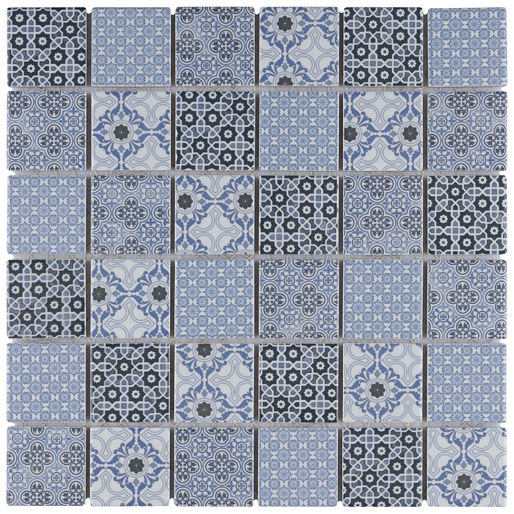 Merola Tile Classico 2 inch Blue 12 in. x 12 in. Porcelain Mosaic Tile (9.79 sq. ft. /Case)