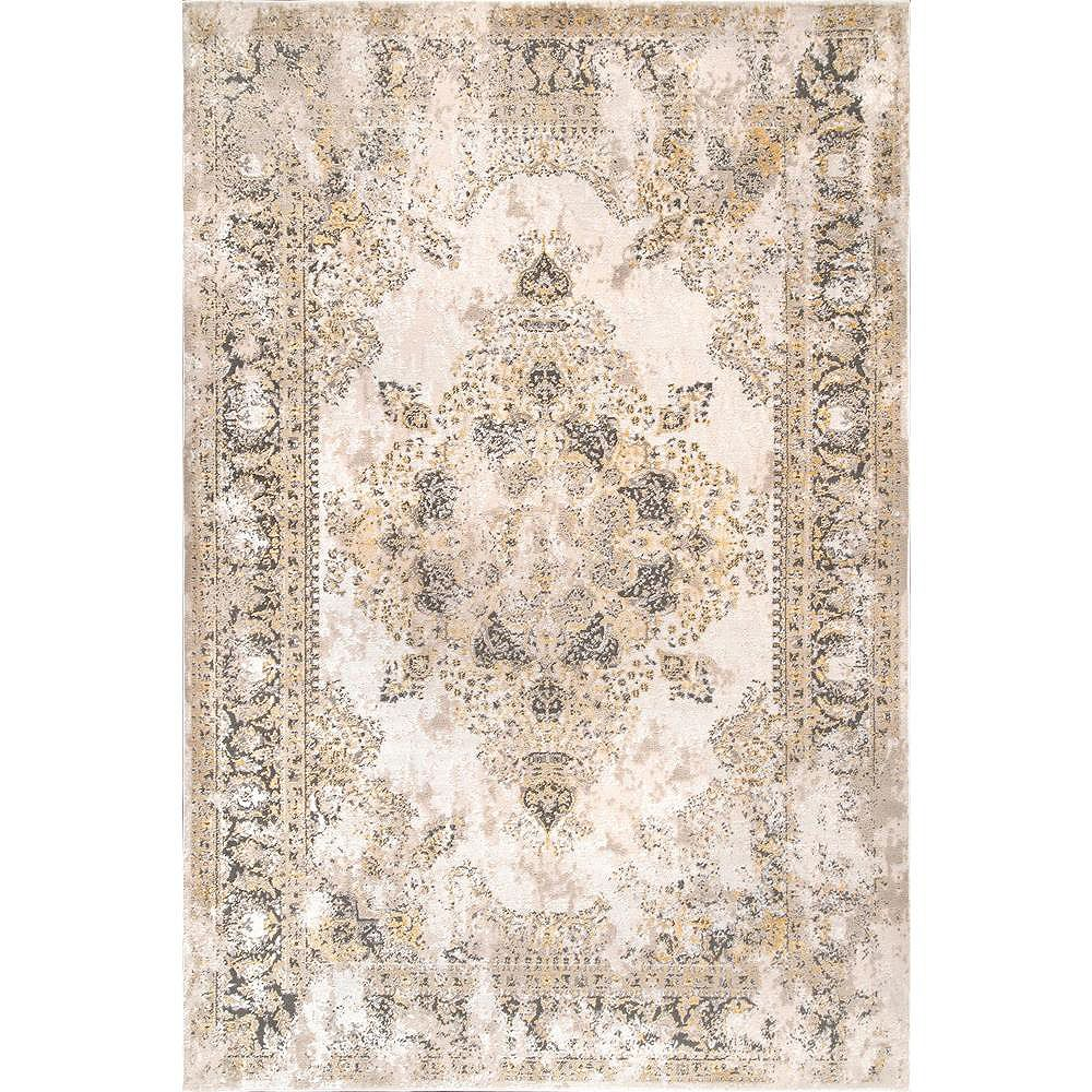 nuLOOM Tapis Médaillon Vintage Jodee Or 6 ft. 7 in. x 9 ft.