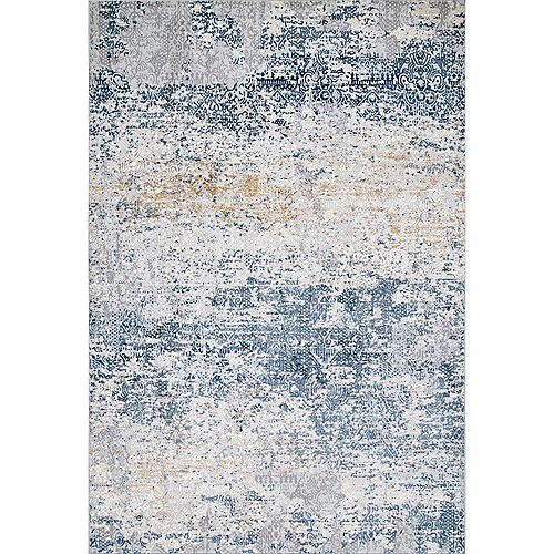 nuLOOM Wilde Tribal Distressed Blue 5 ft. x 8 ft. Indoor Area Rug