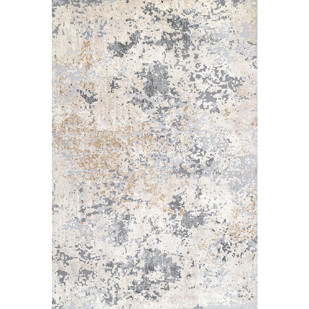 nuLOOM Contemporary Motto Abstract Beige 5 ft. x 8 ft. Indoor Area Rug