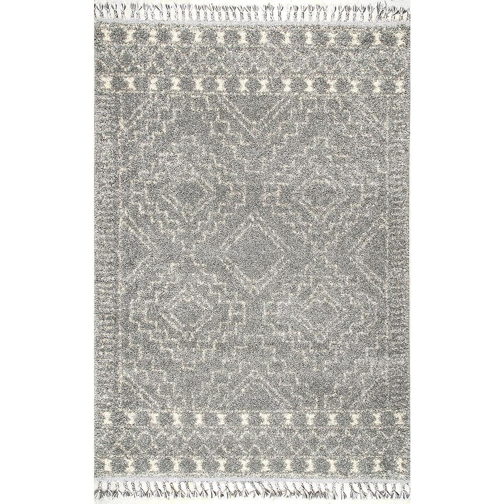 nuLOOM Vasiliki Moroccan Tribal Tassel Silver 4 ft. x 6 ft. Indoor Area Rug