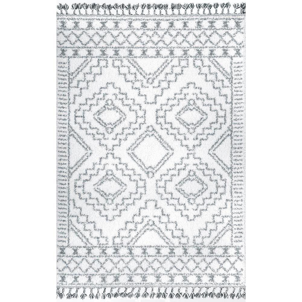 nuLOOM Vasiliki Moroccan Tribal Tassel White 4 ft. x 6 ft. Indoor Area Rug