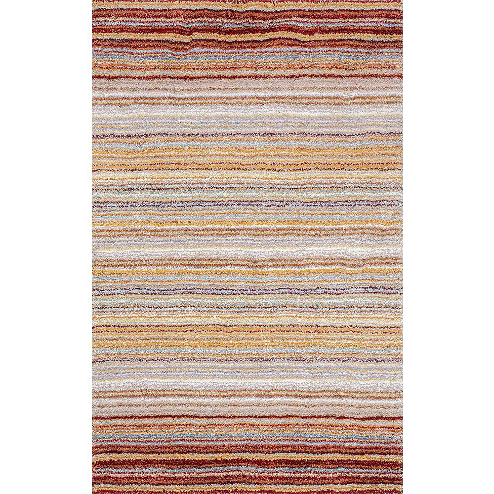 nuLOOM Hand Tufted Classie Shag Red Multi 4 ft. x 6 ft. Indoor Area Rug