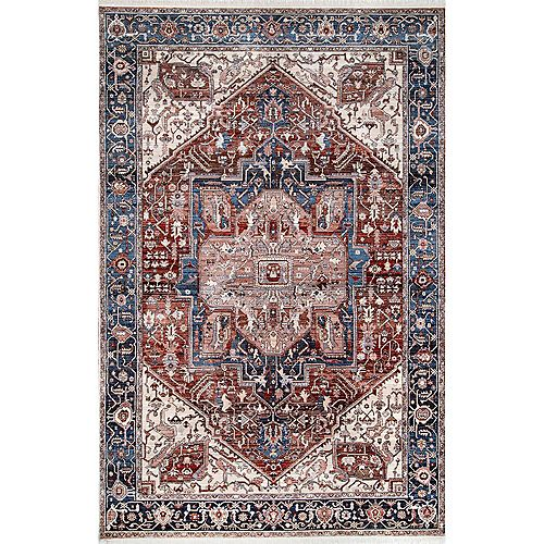nuLOOM Ehtel Medallion Fringe Blue 5 ft. x 7 ft. 9-inch Indoor Area Rug