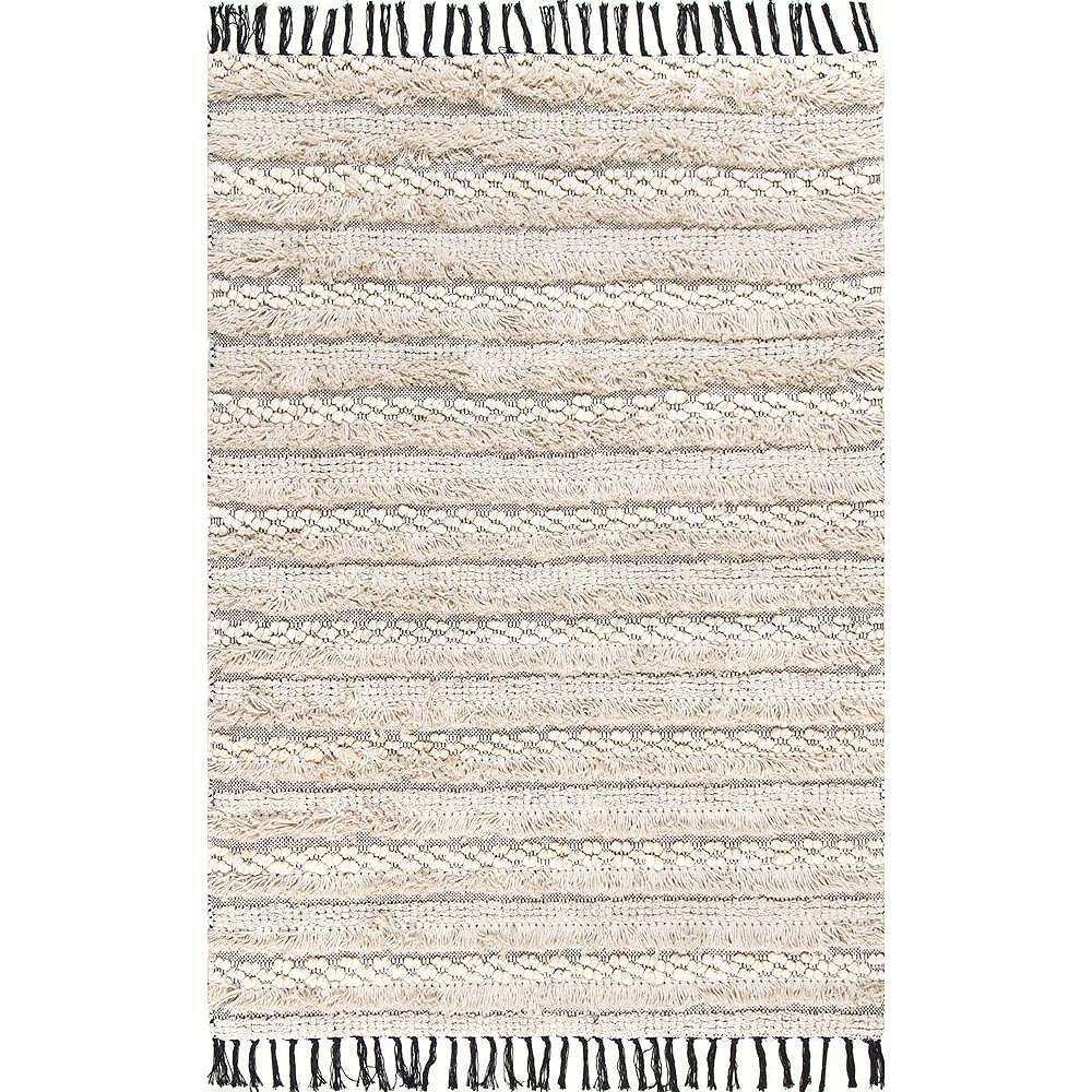 nuLOOM Handmade Emerita Tassel Shag Beige 7 ft. 6-inch x 9 ft. 6-inch Indoor Area Rug