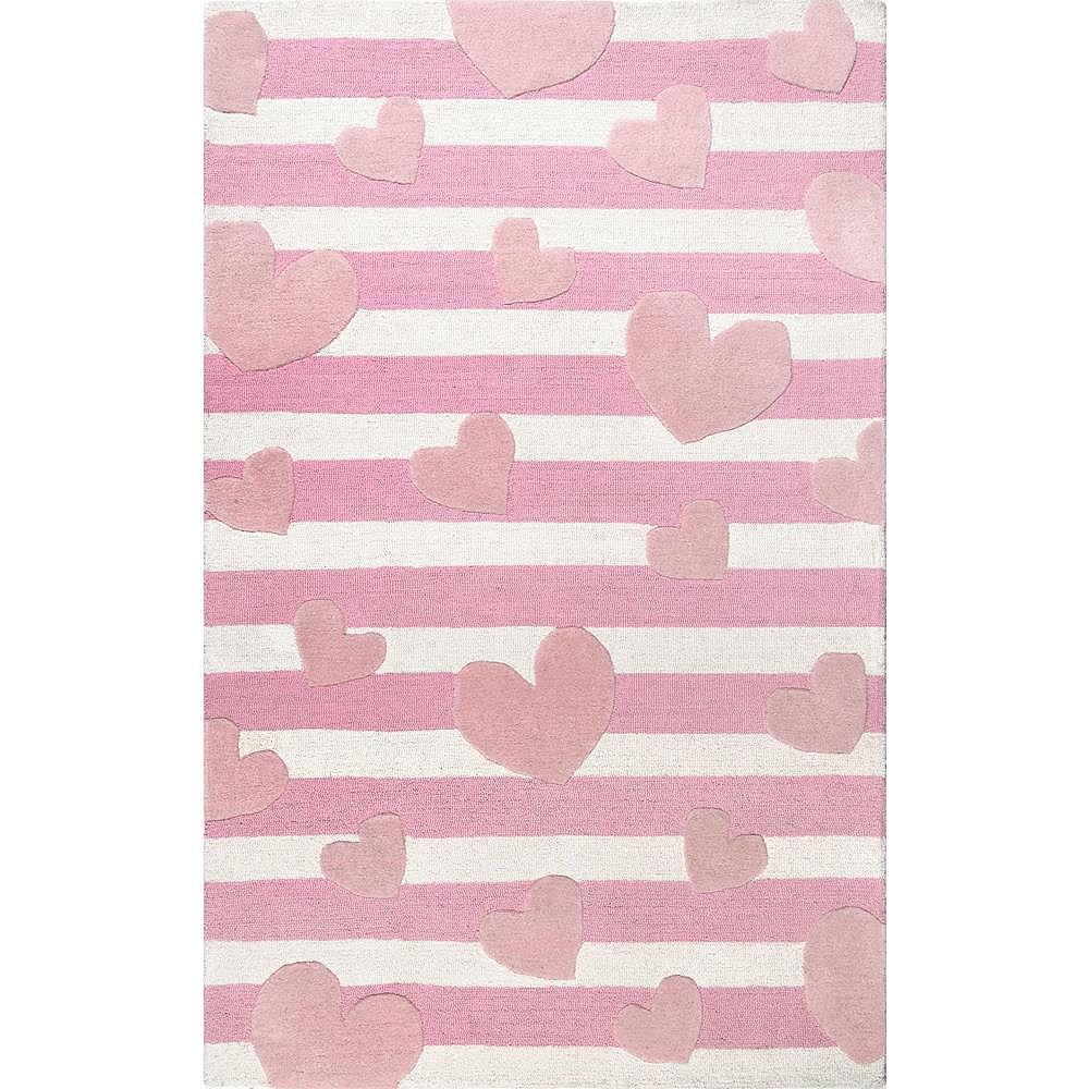 nuLOOM Handmade Hearts Striped Cochran Pink 7 ft. x 9 ft. Indoor Area Rug