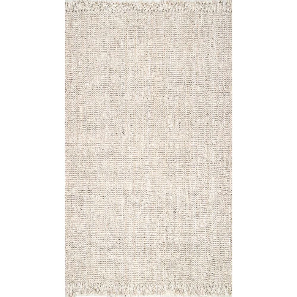 nuLOOM Hand Woven Chunky Loop Jute Off White 8 ft. 6-inch x 11 ft. 6-inch Indoor Area Rug