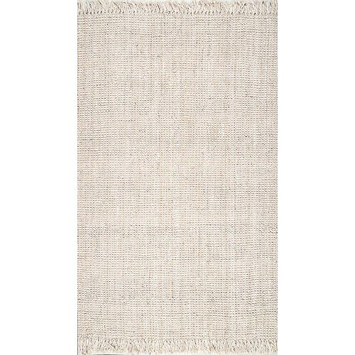 Hand Woven Chunky Loop Jute Off White 6 ft. x 9 ft. Indoor Area Rug