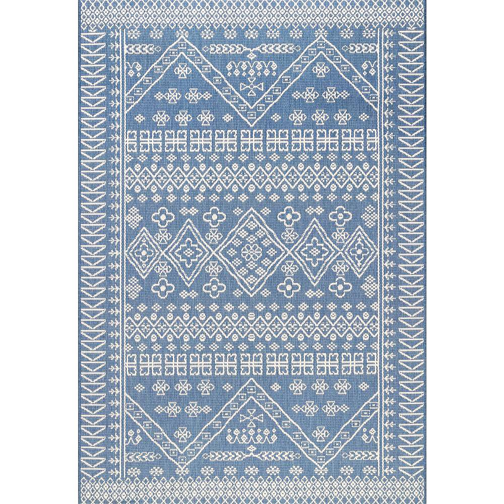 nuLOOM Kandace Outdoor Blue 8 ft. x 6 ft. 13-inch Indoor/Outdoor Area Rug