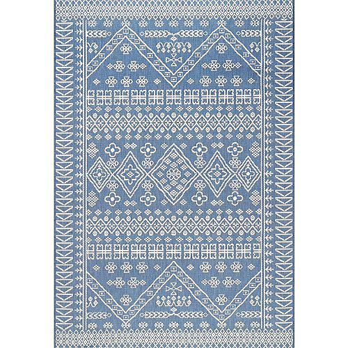 Kandace Outdoor Blue 6 ft. 3-inch x 9 ft. 2-inch Indoor/Outdoor Area Rug