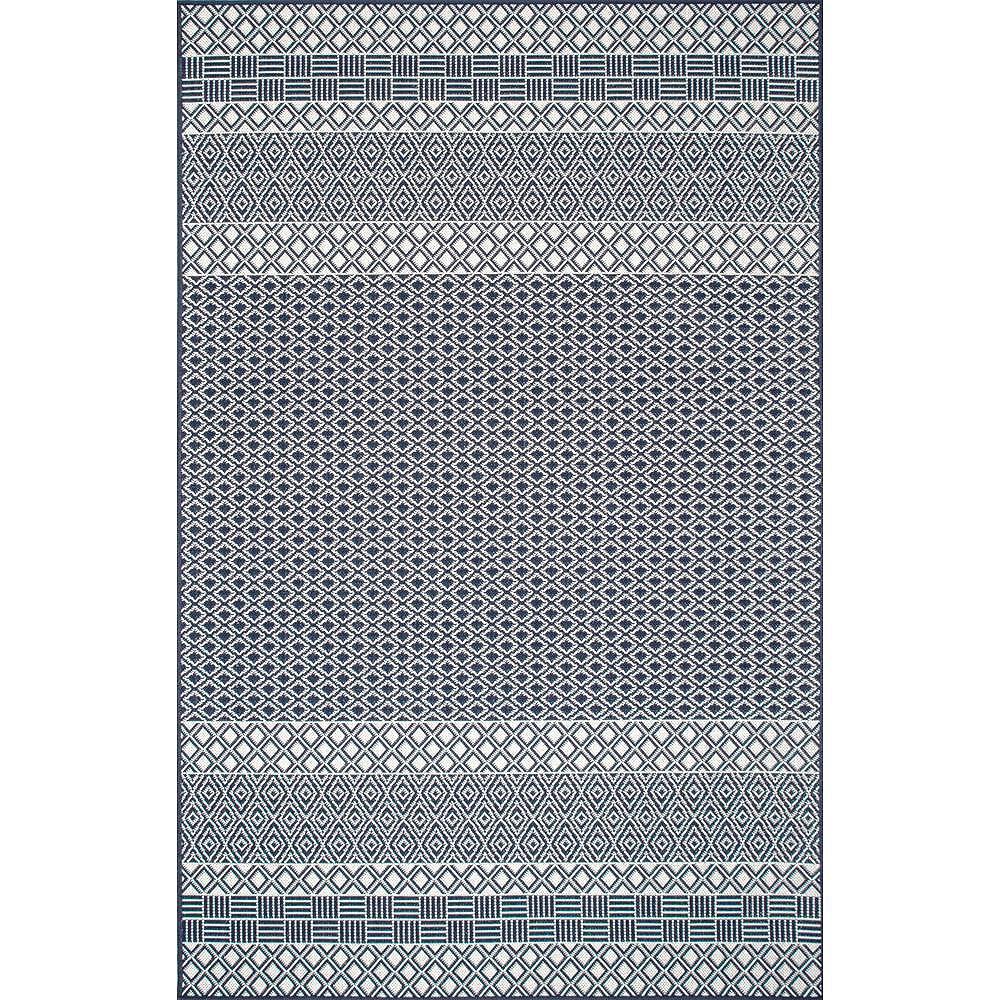 nuLOOM Tapis d'Intérieur/Extérieur Rayé Tilly Lattice Bleu 8 ft. x 10 ft.