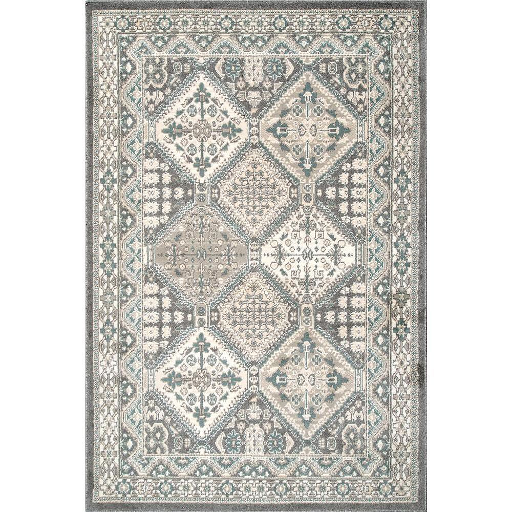 nuLOOM Tapis Vintage Tuile Becca Charbon 6 ft. 7 in. x 9 ft.