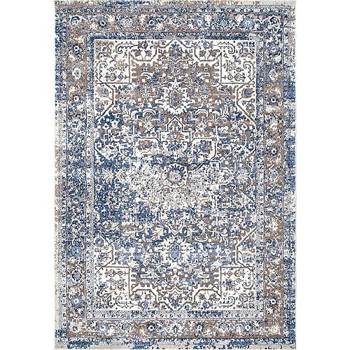 nuLOOM Vintage Lilah Medallion Light Blue 8 ft. x 10 ft. Indoor Area Rug