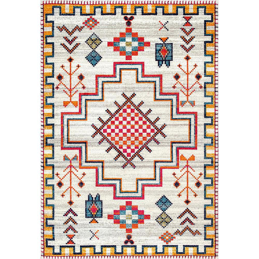 nuLOOM Tapis Médaillon Tribal Richelle Argent 5 ft. x 7 ft. 5 in.