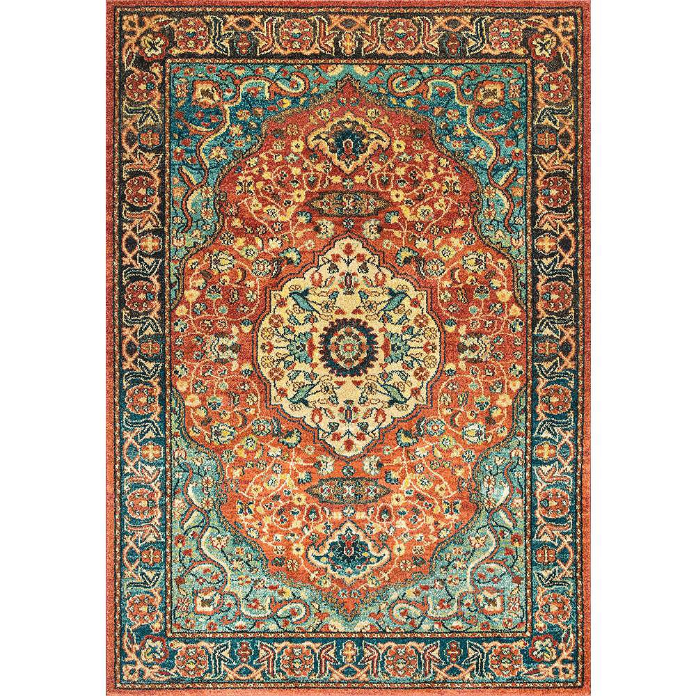 nuLOOM Tapis Médaillon Floral Pearlie Rouille 5 ft. x 7 ft. 5 in.