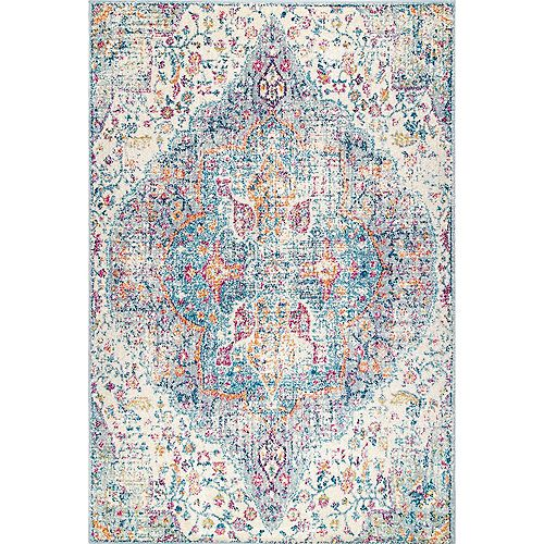 nuLOOM Floral Medallion Pearlie Blue 10 ft. x 14 ft. Indoor Area Rug