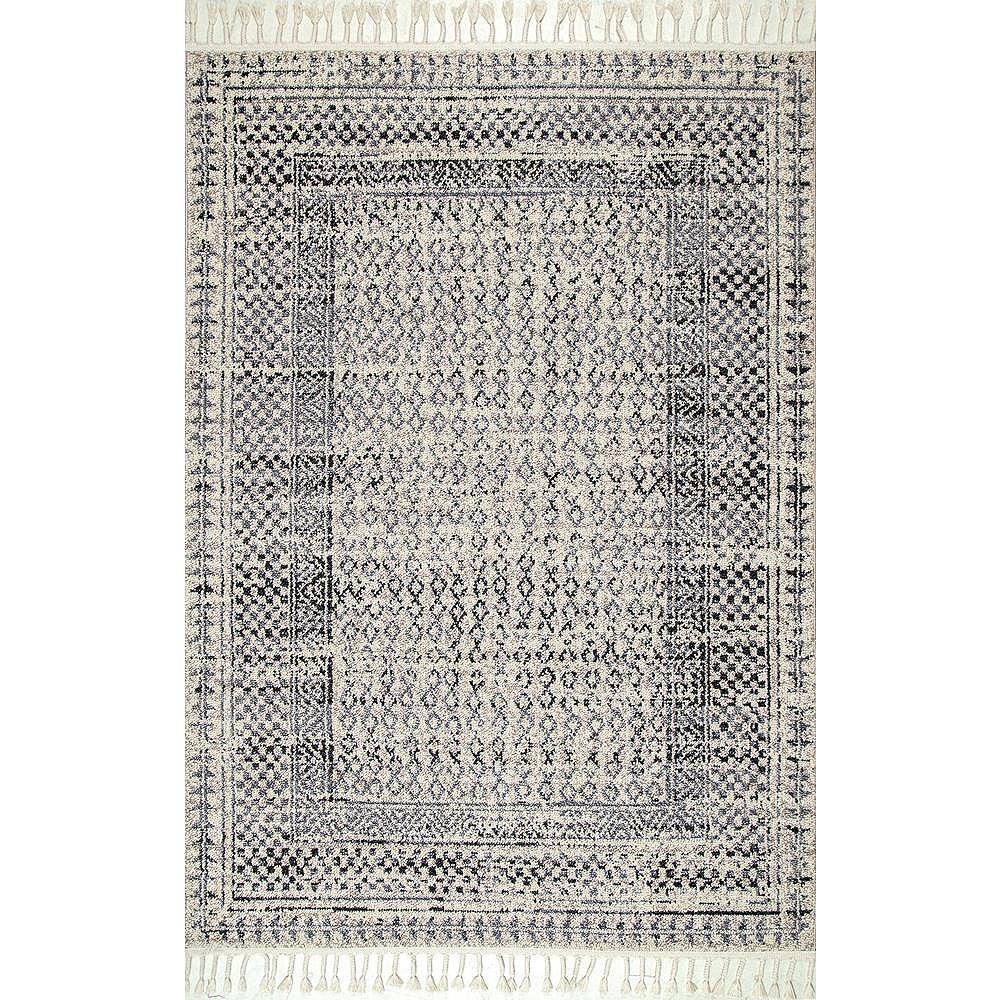 nuLOOM Tapis à Franges Diamant Claudia Gris Multicolore 6 ft. x 9 ft.