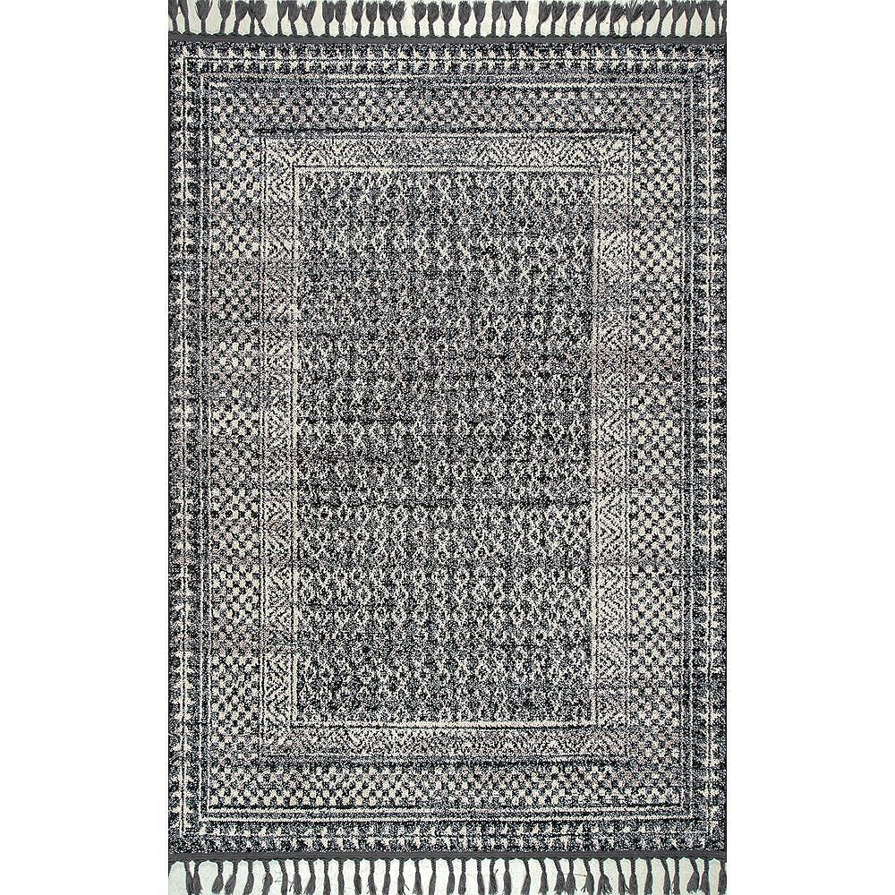 nuLOOM Claudia Diamond Tassel Ivory Multi 5 ft. x 8 ft. Indoor Area Rug